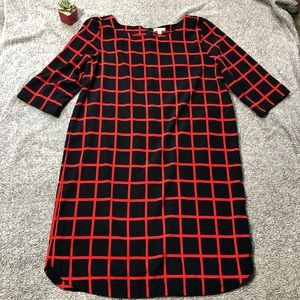 Gap Navy and Red Window Pane Shift Dress